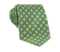 Silk and Linen Square Motif Printed Tie in Lime