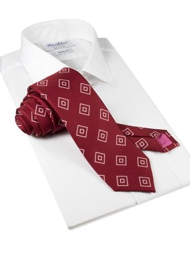 Silk Diamond Printed Tie in Russet