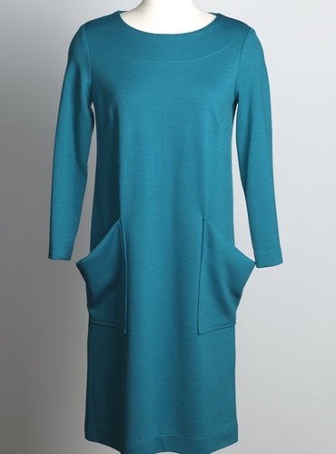 Ladies Wool Shift Dress in Teal