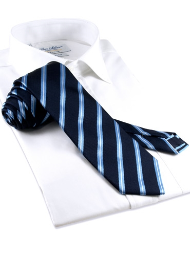 Mogador Silk Stripe Tie in Navy