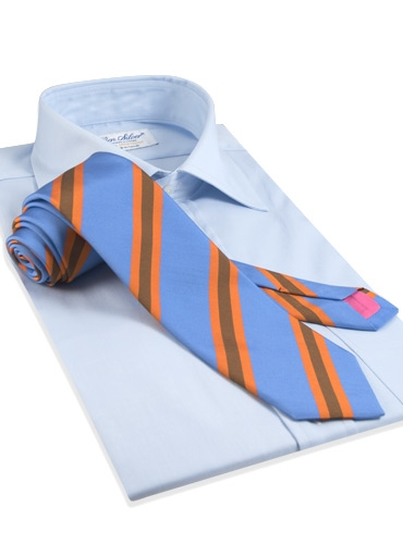 Mogador Silk Stripe Tie in Cobalt