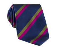 Silk Multi-Color Double Stripe Tie in Navy