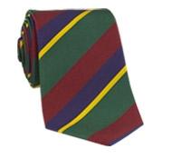 Mogador Silk Stripe Tie in Terracotta, Forest, and Purple