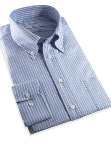 140s Oxford Button Down in Blue with White Bengal Stripe