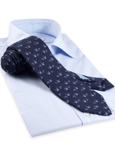 Silk and Wool Print Tie with Flying Geese in Navy
