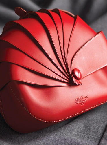 Calf Leather Shell Handbag in Red