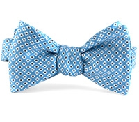 Silk Print Small Flower Bow in Azure with Navy