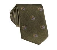 Silk Woven Crest Tie in Fern