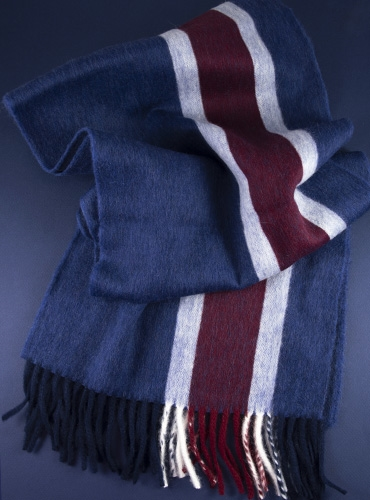 Lambswool and Angora Stripe Scarf in Navy