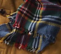 Wool Plaid Scarf in Pacific