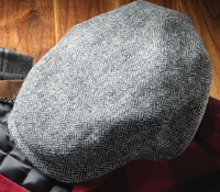 Wool Aberford Cap in Black and White Herringbone