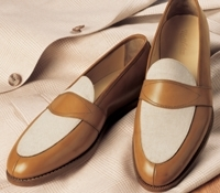 The Charleston Loafer in Whiskey and Linen, Size 7.5