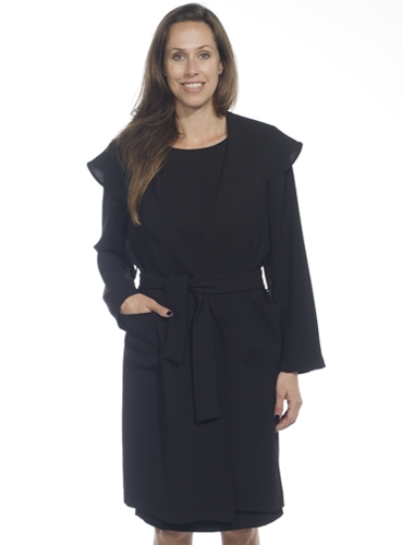 Ladies Crepe Coat in Black