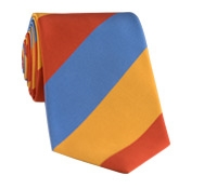 Mogador Silk Block Stripe Tie in Orange, Saffron, and Cobalt