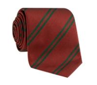 Silk Double Stripe Tie in Cranberry