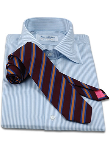 Silk and Cotton Woven Dual Stripe in Claret