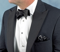 Black Seersucker Tuxedo, size 42R with 34R pant