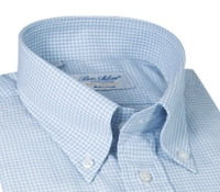 Blue and White Check Button Down in Cotton and Cashmere