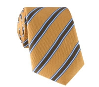 Silk Stripe Tie in Marigold and Chocolate