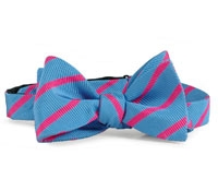 Silk Cotton Woven Stripe Bow Pink/Blue