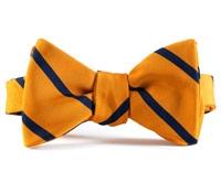 Mogador Silk Bar Stripe Bow in Marigold with Navy