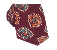 Silk Print Floral Tie in Burgundy