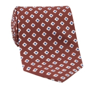 Silk Diamond Motif Tie in Rust