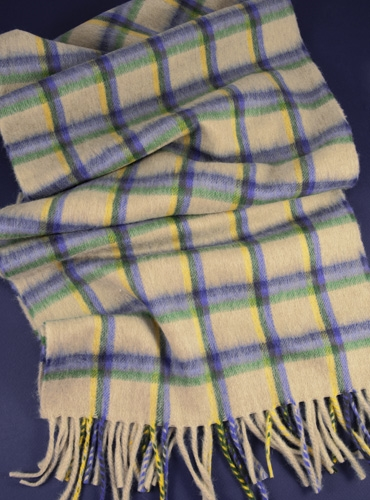 Wool Madras Check Scarf in Cream with Cobalt