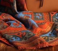 Wool and Silk Kelim Printed Scarf in Coral