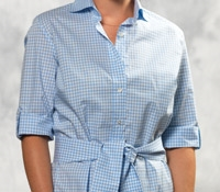 Sky and White Gingham Check Cotton Shirt Dress