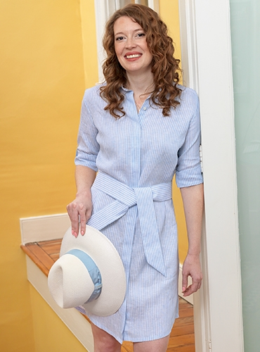 Ladies Sky and White Striped Linen Shirtdress