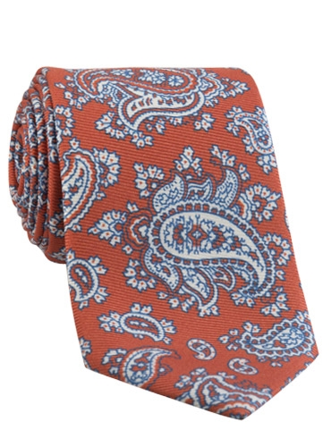 Silk Print Paisley Tie in Coral