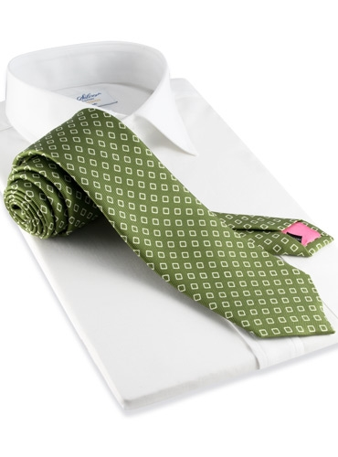 Silk Diamond Motif Tie in Fern