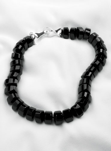 Triangular Shaped Black Onyx Necklace with Sterling Silver Closure