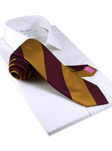 Silk Block Stripe Tie in Maroon