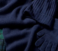 Cashmere Ribbed Scarf, Cap and Gloves in Navy