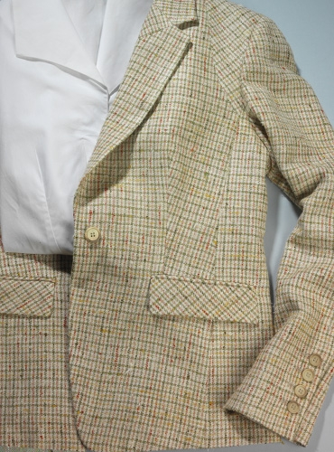 Cream, Green, Pink, and Yellow Check Silk Jacket