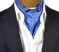 Silk Printed Polka Dots Ascot in Light Blue