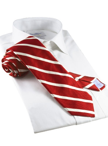 Silk Bar Stripe Tie in Red