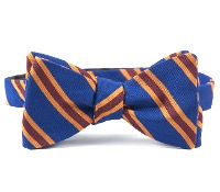 Silk and Cotton Woven Dual Stripe Bow in Storm Blue