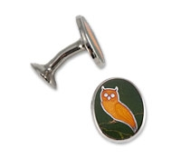 Oval Cufflinks with Owl in Olive