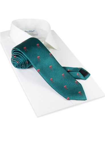 Silk Tie With Flamingos in Teal