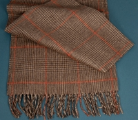 Cashmere Plaid Scarf in Chocolate with Tangerine Windowpanes