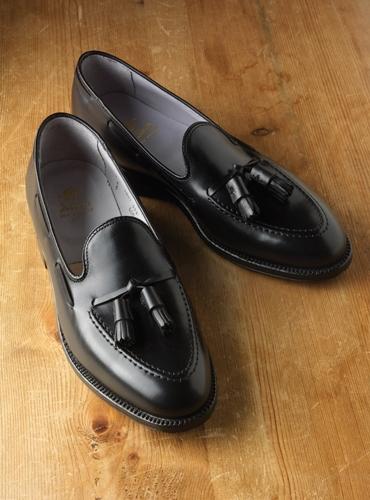 Tassel Moccasins in Black Leather