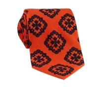 Silk Medallion Printed Tie in Tangerine