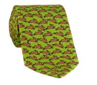 Silk Print Rabbit Motif Tie in Lime