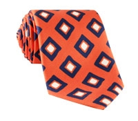 Silk Diamond Print Tie in Tangerine