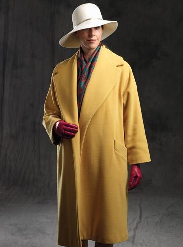 Ladies Wool Coat in Saffron