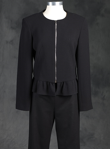 Ladies Crepe Black Ruffle Jacket