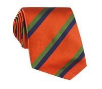 Silk Multi-Color Double Stripe Tie in Tangerine